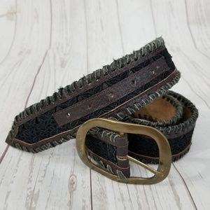 Accessories - Leather Wrapped Edge Lace Belt Boho Bohemian
